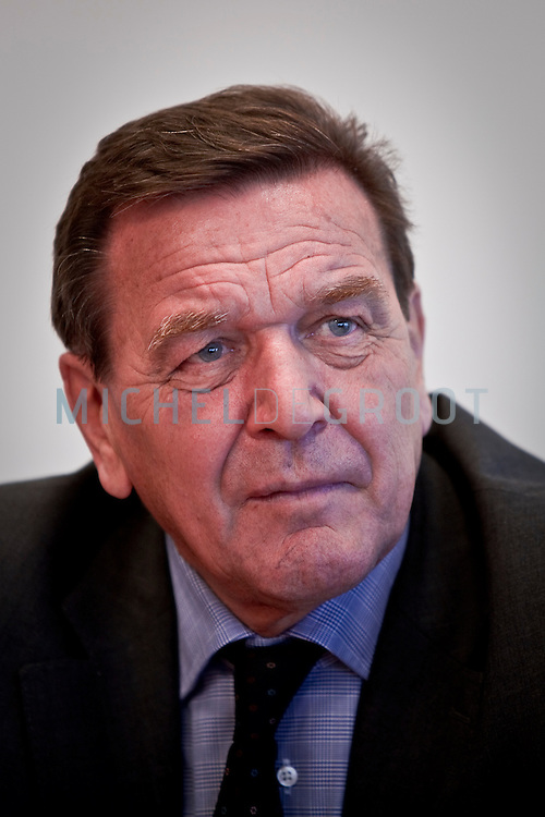 Gerhard Scrhoder, former German Chancellor and the head of the shareholders' committee of Nord Stream AG. in Zoetermeer, The Netherlands on 30 September, 2008.  (Photo by Michel de Groot)