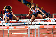 Danielle Williams (JAM) right, on her way to winning her heat of the women's 100m hurdles in a time of 12.53 during the Birmingham Grand Prix, Sunday, Aug 18, 2019, in Birmingham, United Kingdom. (Steve Flynn/Image of Sport)