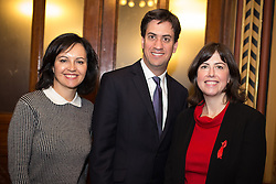 © Licensed to London News Pictures . 29/11/2013 . Manchester , UK . L-R Shadow Minister for Energy Caroline Flint MP , Labour Leader Ed Miliband and Lucy Powell MP for Manchester Central . The leader of the Labour Party , Ed Miliband , addresses an audience at Manchester Town Hall today (Friday 29th November 2013) . The British opposition leader is launching a green paper on energy. Photo credit : Joel Goodman/LNP
