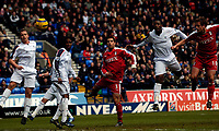 Photo: Jed Wee.<br /> Bolton Wanderers v Fulham. The Barclays Premiership. 26/02/2006.<br /> <br /> Fulham's Heidar Helguson (R) rises high to head in the opening goal.