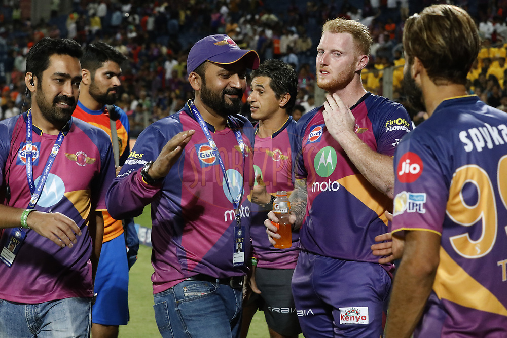 Raghu Iyer CEO of Rising Pune Supergient with players after the match 39 of the Vivo 2017 Indian Premier League between the Rising Pune Supergiants and the Gujarat Lions held at the MCA Pune International Cricket Stadium in Pune, India on the 1st May 2017<br /> <br /> Photo by Arjun Singh - Sportzpics - IPL