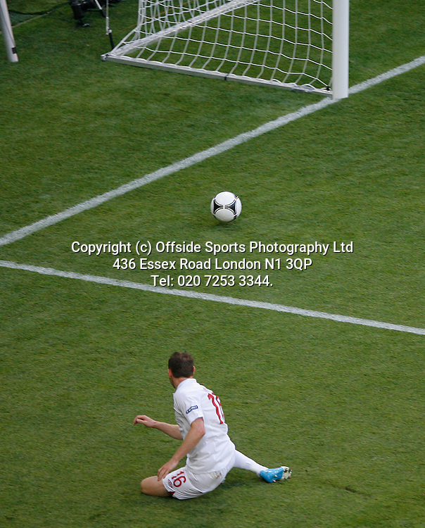 11/06/2012 European football championships. France v England.<br /> James Milner shoots wide of an open goal.<br /> Photo: Mark Leech.