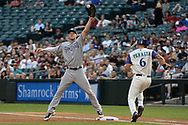 PHOENIX, AZ - APRIL 27:  Wil Myers #4 of the San Diego Padres reaches for the ball to make the out against David Peralta #6 of the Arizona Diamondbacks in the first inning at Chase Field on April 27, 2017 in Phoenix, Arizona.  (Photo by Jennifer Stewart/Getty Images)