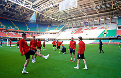 CARDIFF, WALES - Wednesday, October 10, 2018: Wales players during a training session at the Principality Stadium ahead of the International Friendly match between Wales and Spain. Tom Lawrence, Ben Davies, Ashley 'Jazz' Richards, Joe Allen. (Pic by David Rawcliffe/Propaganda)