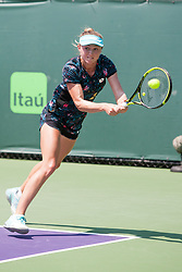 March 20, 2018 - Key Biscayne, FL, U.S. - KEY BISCAYNE, FL - MARCH 20: Aliaksandra Sasnovich (BLR) competes during the qualifying round of the 2018 Miami Open on March 20, 2018, at Tennis Center at Crandon Park in Key Biscayne, FL. (Photo by Aaron Gilbert/Icon Sportswire) (Credit Image: © Aaron Gilbert/Icon SMI via ZUMA Press)