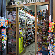 Newsagent shop on via Nazionale in Cortona, Italy<br />