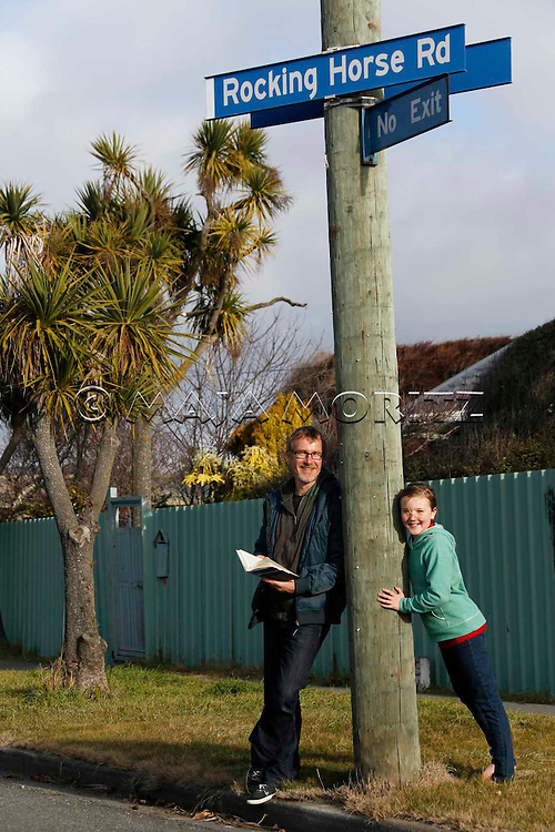 Carl Nixon and daughter Alice at Rocking Horse Road in Christchurch, which is the name of one of his novels