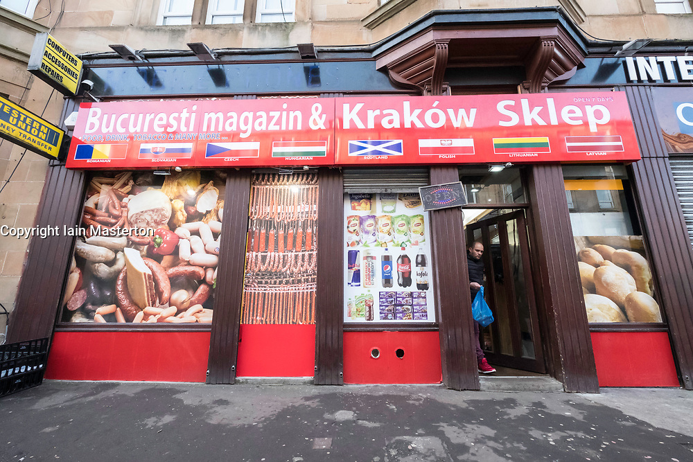 Polish and East European grocery store in Govanhill district of Glasgow, Scotland, United Kingdom