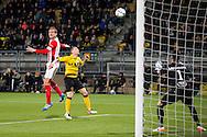 KERKRADE, Roda JC - PSV, voetbal, Eredivisie seizoen 2015-2016, 16-04-2016, Parkstad Limburg Stadion, PSV speler Luuk de Jong (L) scoort de 0-2, Roda JC speler Martin Milec (M), Roda JC keeper Benjamin van Leer (R).