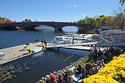 Cambridge. MA. USA. General view from the Cambridge Boathouse balcony over the Charles River and the Eliot Bridge, during the 49th edition of the Head of the Charles. went on to win their event.<br /> <br /> 12:45:33  Sunday  20/10/2013   <br /> <br /> [Mandatory Credit. Peter SPURRIER /Intersport Images]