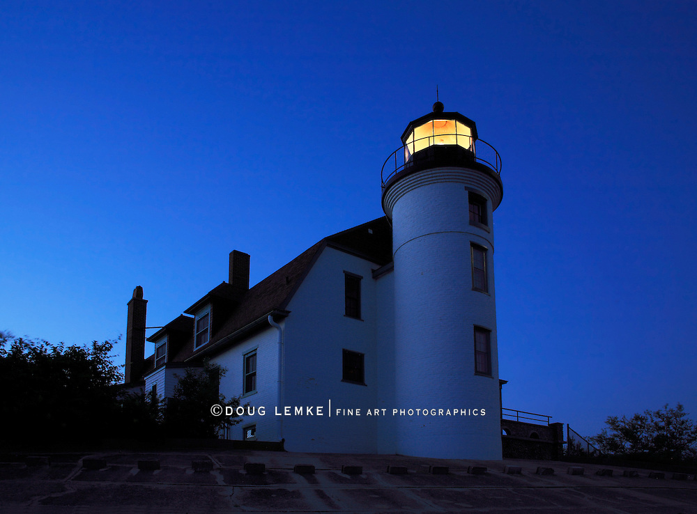 The Point Betsie Lighthouse Holds Vigil On The Lake Michigan Shoreline As Night Meets Day Just Before Sunrise, Michigan, Lower Peninsula, USA