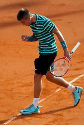 Borna Coric of Croatia during a tennis match against the Edouard Roger - Vesselin of France in 1st round of singles at 25th Vegeta Croatia Open Umag, on July 21, 2014, in Stella Maris, Umag, Croatia. Photo by Urban Urbanc / Sportida