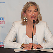 June 10, 2014, New Haven, Connecticut:<br /> Connecticut Open Tournament Director Anne Worcester speaks during a press conference announcing a partnership between United Technologies and the Connecticut Open in New Haven, Connecticut Tuesday, June 10, 2014.<br /> (Photo by Billie Weiss/Connecticut Open)