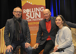 Rick O&rsquo;Shea talking to Author and Journalist Conor O&rsquo;Clery&nbsp;and his wife Zhanna at the Rolling Sun Book festival event at Westport Town Hall Theatre.<br />Pic Conor McKeown