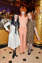 Left to right, PRINCESS JULIA, JOSH QUINTON and HEIDI HEELZ at a party to celebrate Pam Hogg receiving an honorary Doctorate from Glasgow University held at Park Chinois, 17 Berkeley Street, London on 11th July 2016.