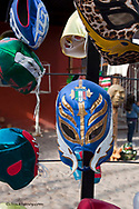 Colorful wrestling masks for sale in downtown Loreto Mexico