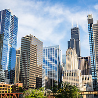 High-res picture of Chicago skyline city buildings and skyscrapers including Willis Tower (Sears Tower). Photo was taken in 2012.