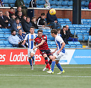 23rd September 2017, Rugby Park, Kilmarnock, Scotland; SPFL Premiership football, Kilmarnock versus Dundee; Dundee's Scott Allan hits a cross field pass