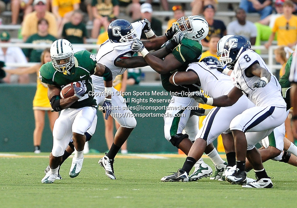 September 19th 2009:  <br /> Baylor running back Jay Finley (32)<br /> in action during a NCAA Football game between the Baylor Bears and the University of Connecticut at Floyd Casey  Stadium in Waco, TX.  <br /> Baylor loses to UConn 30-22