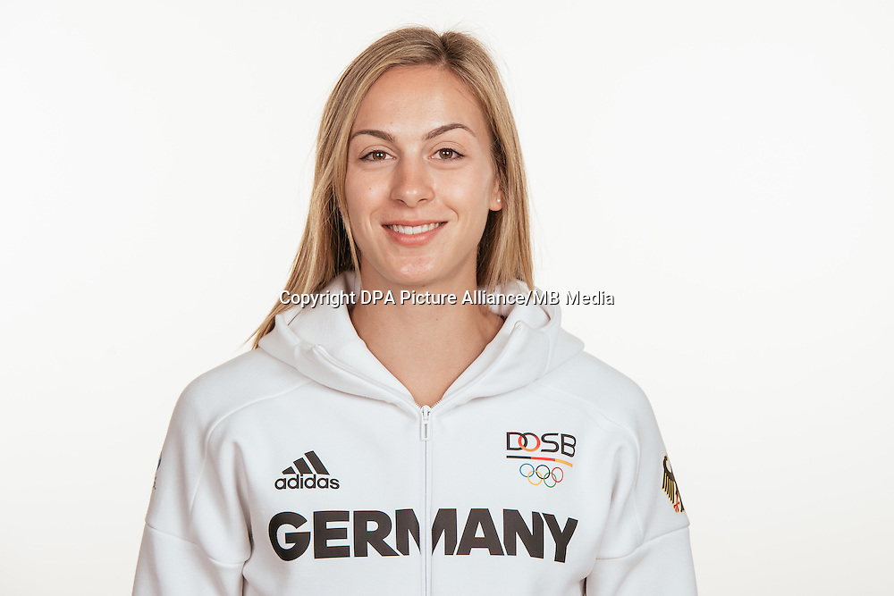 Alexandra Burhardt poses at a photocall during the preparations for the Olympic Games in Rio at the Emmich Cambrai Barracks in Hanover, Germany, taken on 20/07/16 | usage worldwide