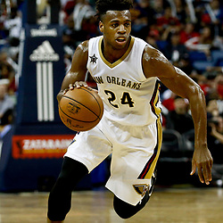 Dec 26, 2016; New Orleans, LA, USA;  New Orleans Pelicans guard Buddy Hield (24) against the Dallas Mavericks during the second half of a game at the Smoothie King Center. The Pelicans defeated the Mavericks 111-104.  Mandatory Credit: Derick E. Hingle-USA TODAY Sports
