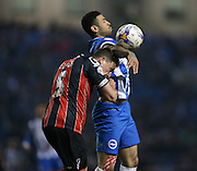 Leon Best, Brighton striker and AFC Bournemouth defender Tommy Elphick during the Sky Bet Championship match between Brighton and Hove Albion and Bournemouth at the American Express Community Stadium, Brighton and Hove, England on 10 April 2015.