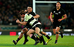Asafo Aumua of New Zealand is tackled - Mandatory by-line: Robbie Stephenson/JMP - 04/11/2017 - RUGBY - Twickenham Stadium - London,  - Barbarians v All Blacks - Killik Cup