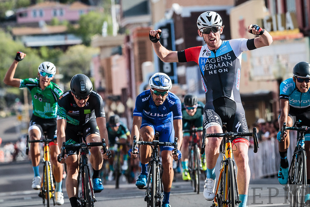 SILVERY CITY, NM - APRIL 21: Michael Rice (Hagens Berman Axeon) celebrates winning stage stage 4 of the Tour of The Gila on April 21, 2018 in Silver City, New Mexico. (Photo by Jonathan Devich/Epicimages.us)