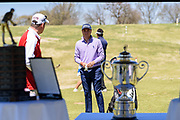 Justin Thomas checks out the trophy as he hosts the Strategic Communications/Justin Thomas Junior Championship presented by Phocus at Harmony Landing Country Club Friday, April 20, 2018, in Goshen, Ky. (Photo by Brian Bohannon)