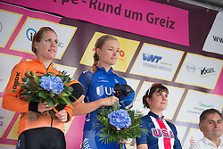 Tayler Wiles (USA) of UnitedHealthcare Cycling Team listens to the American national anthem after winning Stage 5 of the Lotto Thuringen Ladies Tour - a 108.3 km road race, starting and finishing in Greiz on July 17, 2017, in Thuringen, Germany. (Photo by Balint Hamvas/Velofocus.com)