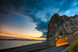 """""""Cave Rock at Sunset 1"""" - Sunset photograph of Cave Rock on Lake Tahoe's east shore."""