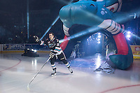 KELOWNA, CANADA - SEPTEMBER 25: Tate Coughlin #18 of Kelowna Rockets enters the ice during the season home opener against the Kamloops Blazers on September 25, 2015 at Prospera Place in Kelowna, British Columbia, Canada.  (Photo by Marissa Baecker/Shoot the Breeze)  *** Local Caption *** Tate Coughlin;