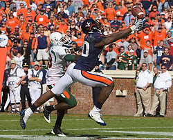 Virginia wide receiver Maurice Covington (80) stretches for the ball in the end zone while being defended by Miami (FL) defensive back Ryan Hill (13).  Covington was unable to make the catch.  The Miami Hurricanes defeated the Virginia Cavaliers 24-17 in overtime in a NCAA Division 1 Football game at Scott Stadium on the Grounds of the University of Virginia in Charlottesville, VA on November 1, 2008.