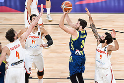 Pau Gasol of Spain and Willy Hernangomez of Spain vs Goran Dragic of Slovenia during basketball match between National Teams of Slovenia and Spain at Day 15 in Semifinal of the FIBA EuroBasket 2017 at Sinan Erdem Dome in Istanbul, Turkey on September 14, 2017. Photo by Vid Ponikvar / Sportida