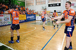 Dejan Vincic of ACH celebrates at final match of Slovenian National Volleyball Championships between ACH Volley Bled and Salonit Anhovo, on April 24, 2010, in Radovljica, Slovenia. ACH Volley defeated Salonit 3rd time in 3 Rounds and became Slovenian National Champion.  (Photo by Vid Ponikvar / Sportida)