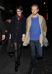 Actress Anne Hathaway and her husband Adam Shulman visit the Empire Cinema in Leicester Square, with her 'Les Miserables' co-stars. London, UK. 04/12/2012<br />