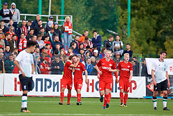 MOSCOW, RUSSIA - Tuesday, September 26, 2017: Spartak Moscow's Aleksandr Rudenko celebrates scoring the winning second goal during the UEFA Youth League Group E match between Liverpool and Spartak Moscow FC at the Spartak Academy. (Pic by David Rawcliffe/Propaganda)