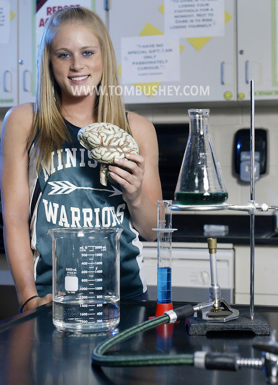 Ashley Graham poses for a portrait while holding a model of a brain in a science room at Minisink Valley High School in Slate Hill  on April 10, 2007.