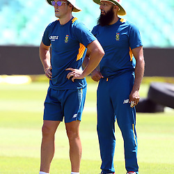 Durban South Africa - December 24,AB de Villiers (vice-capt) with Hashim Amla (capt) during the South African training session at Sahara Stadium Kingsmead, 24 December 2015. (Photo by Steve Haag) images for social media must have consent from Steve Haag