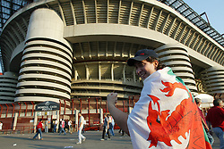 MILAN, ITALY - Saturday, September 6, 2003: MILAN, ITALY - Saturday, September 6, 2003: Wales fan Tony Davis from Cardiff pictured outside the San Siro Stadium. (Pic by David Rawcliffe/Propaganda)