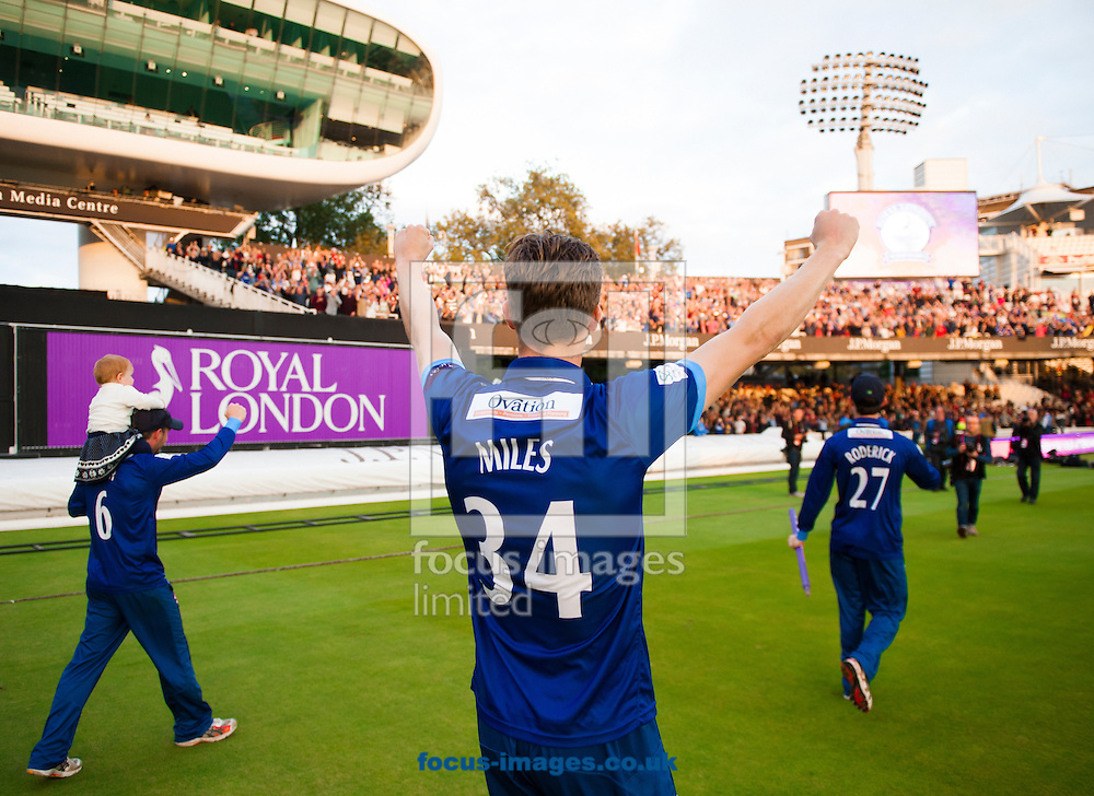 Craig Miles of Gloucestershire celebrate after winning Royal London One Day Cup Final match at Lord's, London<br /> Picture by Jack Megaw/Focus Images Ltd +44 7481 764811<br /> 19/09/2015