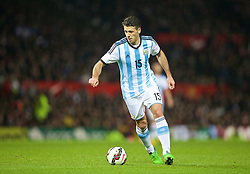MANCHESTER, ENGLAND - Tuesday, November 18, 2014: Argentina's Martin Demichelis in action against Portugal during the International Friendly match at Old Trafford. (Pic by David Rawcliffe/Propaganda)