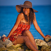 Singer songwriter Melonie Gillett photo shoot on South Water Caye, Belize