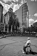 Alfred Schedler, 90 year old WWII veteran and retired pastor, enjoys a day in the sun in Pioneer Square. His caregiver brings him downtown every Wednesday.
