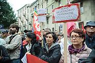 Contestazione al Jobs Act di Matteo Renzi. Manifestazione della Fiom. Milano, 8 ottobre 2014.
