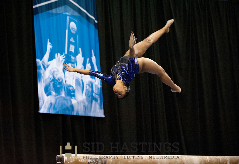 21 APRIL 2018 -- ST. LOUIS -- LSU gymnast Christina Desiderio competes on the Balance Beam during the 2018 NCAA Women's Gymnastics Championship Super Six at Chaifetz Arena in St. Louis Saturday, April 21, 2018.<br /> Photo &copy; copyright 2018 Sid Hastings.