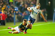 Handre Pollard (#10) (Vodacom Blue Bulls) of South Africa tackles Sam Skinner (#6) (Exeter Chiefs) of Scotland   during the Autumn Test match between Scotland and South Africa at the BT Murrayfield Stadium, Edinburgh, Scotland on 17 November 2018.