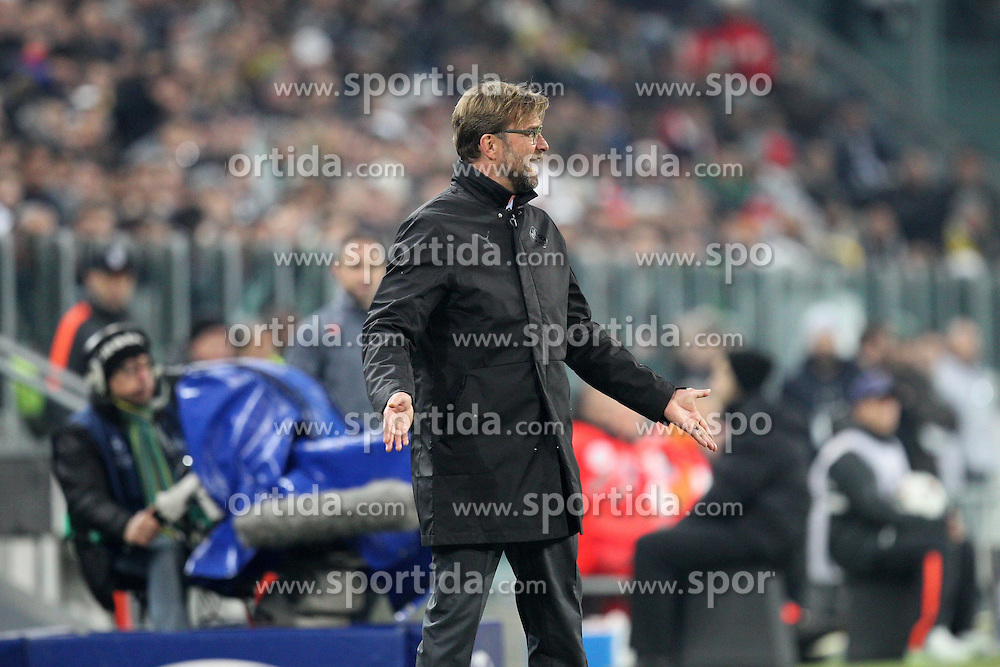 24.02.2015, Veltins Arena, Turin, ITA, UEFA CL, Juventus Turin vs Borussia Dortmund, Achtelfinale, Hinspiel, im Bild enttaeuschung bei Chef-Trainer Juergen Klopp (Borussia Dortmund) // during the UEFA Champions League Round of 16, 1st Leg match between between Juventus Turin and Borussia Dortmund at the Veltins Arena in Turin, Italy on 2015/02/24. EXPA Pictures &copy; 2015, PhotoCredit: EXPA/ Eibner-Pressefoto/ Kolbert<br /> <br /> *****ATTENTION - OUT of GER*****