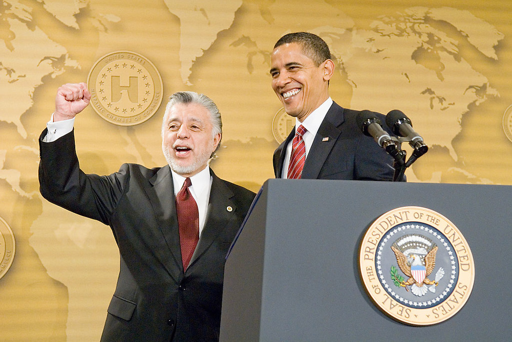 President Barack Obama greets the United States Hispanic Chamber of Commerce's 19th Annual Legislative Conference, in Washington, DC, with David C. Lizárraga, Chairman, USHCC Board of Directors, Tuesday, March 10, 2009..
