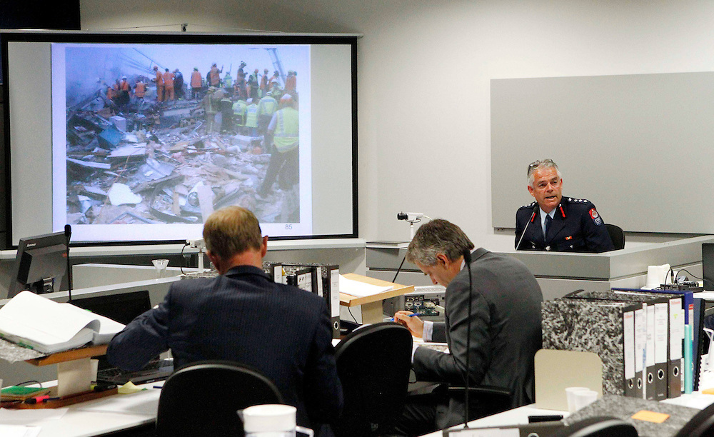 David Berry from the Fire Service at the continuation of the coronial inquest into the deaths caused by the collapse of the CTV building after the February 22 earthquake, Christchurch, New Zealand, Friday, November 02, 2012. Credit:SNPA / The Press, David Hallett  **POOL**